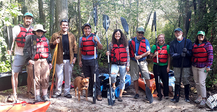 Staff of Pinelands Preservation Alliance preparing to paddle the Batsto River in the new jersey pine barrens.