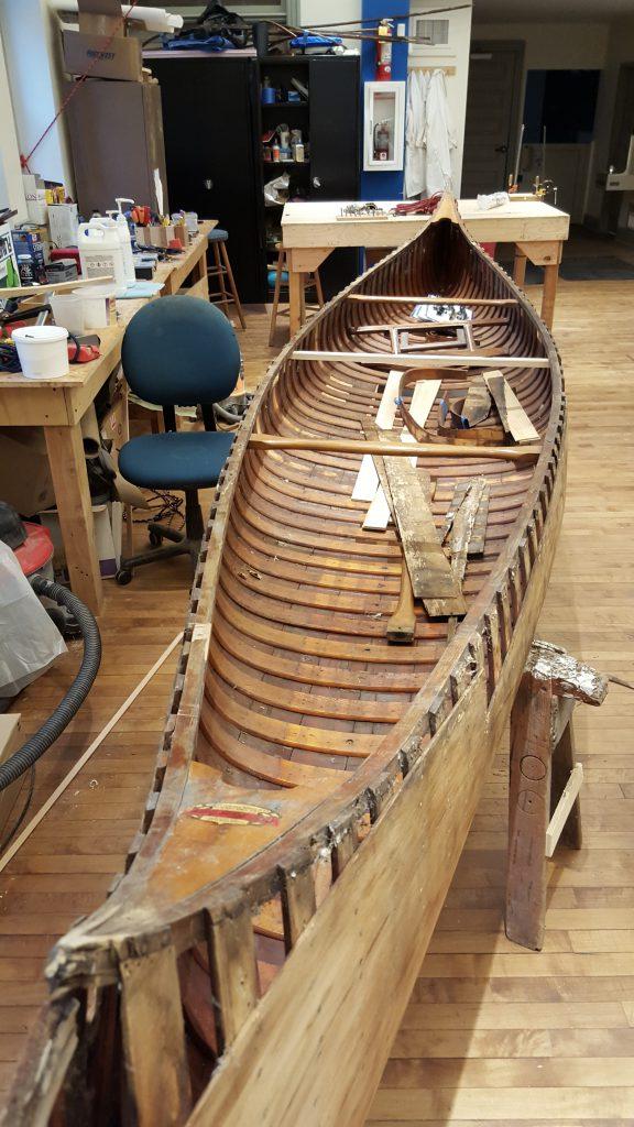 Old Town Canoe undergoing restoration.
